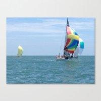 Sail boats, Spinakers, racing, NC coast, Sea scape Canvas Print