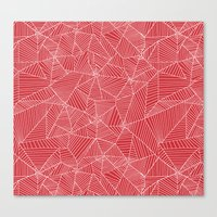 Spiderwebs - Webs on red background Canvas Print