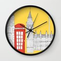 Capital Icons 4 // London Red Telephone Box Wall Clock