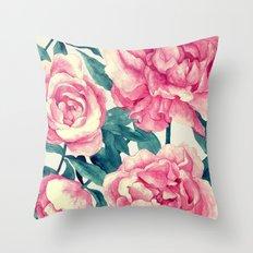 Peonies (soft tone) Throw Pillow