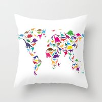 Dinosaur Map Of The Worl… Throw Pillow