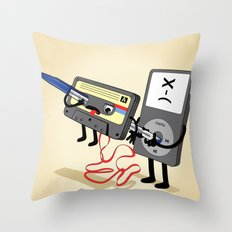 Killer Ipod Clipart (Murder of Retro Cassette Tape) Throw Pillow
