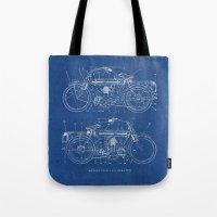 Motorcycle Blueprint Tote Bag