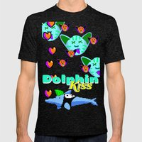 Dolphin Kiss Mens Fitted Tee Tri-Black SMALL