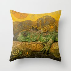 Just Chilling and Dreaming...(Lizard) Throw Pillow