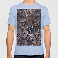 Boho rose gold dreamcatcher floral navy blue Mens Fitted Tee Tri-Blue SMALL