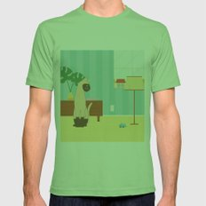 Siamese Cat And Mouse Mens Fitted Tee Grass SMALL
