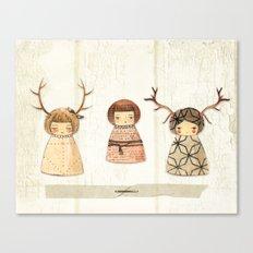 Deer paperdolls Canvas Print