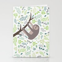 Happy Sloth with Leaves Illsutration Stationery Cards