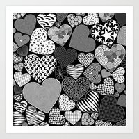 Love Hearts Doodle Art P… Art Print