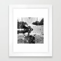 Summer space, smelting selves, simmer shimmers. [extra, 7, grayscale version] Framed Art Print