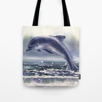 DOLPHIN painting, watercolor dolphin art, sea creatures, ocean lover gift, beach house decor, nautic Tote Bag