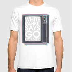 Go Out Side White Mens Fitted Tee SMALL