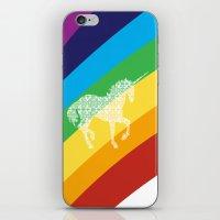Unicorn on rainbow art iPhone & iPod Skin