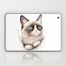 Grumpy Watercolor Cat Laptop & iPad Skin