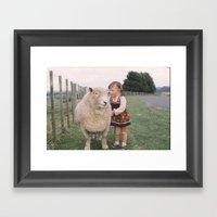 Sheep girl Framed Art Print