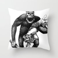 Mad Brute Throw Pillow