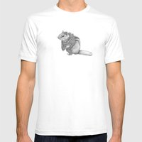 The Chipmunk- Feathered Mens Fitted Tee White SMALL