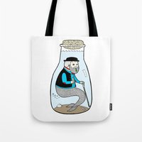 Tote Bag featuring A Merman In Captivity Passing Gas In A Bottle  by Michael C. Hsiung