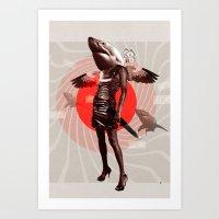 Shark Lady · Honey, what do you do for money? Art Print