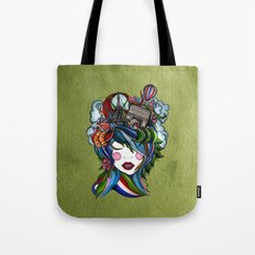 Paris girl in green Tote Bag