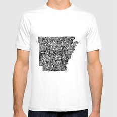 Typographic Arkansas SMALL White Mens Fitted Tee