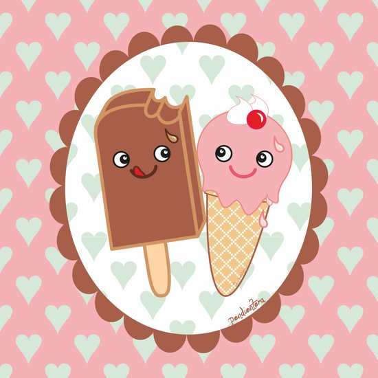 Ice creams in love Art Print