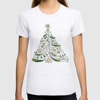 Christmas Tree Womens Fitted Tee Ash Grey SMALL
