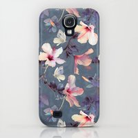 Galaxy S4 Cases featuring Butterflies and Hibiscus Flowers - a painted pattern by micklyn