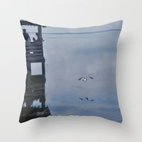 Outerbanks Bay Landscape Scene Throw Pillow