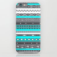 Ice Mint Blue Grey Aztec Pattern iPhone iPhone 6 Slim Case