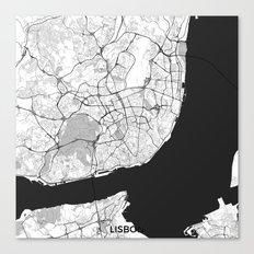 Lisbon Map Gray Canvas Print