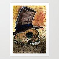 Skull in a Top Hat Art Print