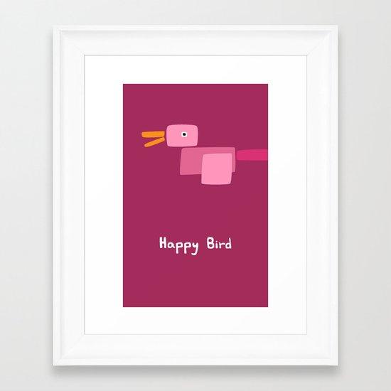 Happy Bird-Pink Framed Art Print