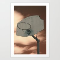 Shooting hoops on Mars Art Print