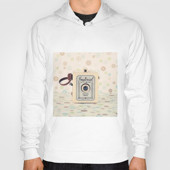Retro Film Camera on Beige - Cream Pattern Background  Hoody