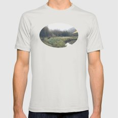 Morning Meadow Moose Mens Fitted Tee Silver SMALL