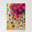 ROSES ARE RAD - Bold Fun Red Roses Floral Bouquet Vines, Flowers Abstract Acrylic Painting Fine Art Stationery Cards