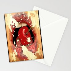 Red Cherry Lips Stationery Cards