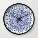 Indigo Flowered Mandala Wall Clock
