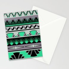 art deco stripes - green & pale purple Stationery Cards