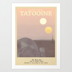 Retro Travel Poster Series - Star Wars - Tatooine Art Print