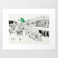 Godzilla Plus Ghosts Art Print