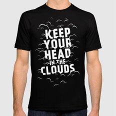 Keep Your Head in the Clouds SMALL Black Mens Fitted Tee