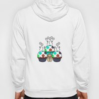Cute Monster With Cyan And Blue Polkadot Cupcakes Hoody