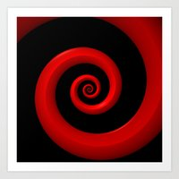 Red Spiral on Black Background Art Print