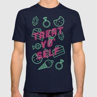 Treat Yo' Self Mens Fitted Tee Navy SMALL