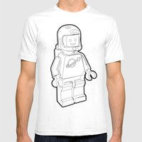 Vintage Lego Spaceman Wireframe Minifig Mens Fitted Tee White SMALL
