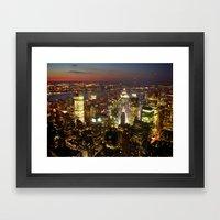 New York Empire State Night Framed Art Print