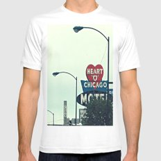 Heart 'O' Chicago Motel (Day) ~ vintage neon sign White SMALL Mens Fitted Tee